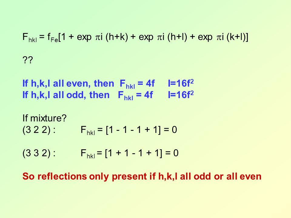 Fhkl = fFe[1 + exp i (h+k) + exp i (h+l) + exp i (k+l)]